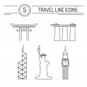 Travel Line Icons — Stock Vector