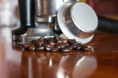 Coffee Beans and Coffee Brewing Machine Parts — Stock Photo