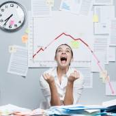 Business failure with negative chart — Stock Photo