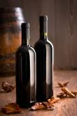 Wine bottles with fallen leaves — Stock Photo