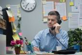 White collar on the phone — Stock Photo