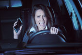 Woman having a car accident — Stock Photo