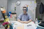 Office worker wearing scuba mask — Stock Photo