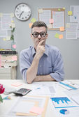 Pensive nerd businessman — Stock Photo