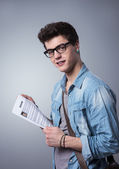 Young man with resume — Stock Photo