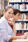 Happy students studing together — Foto Stock