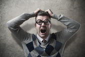Desperate angry guy shouting — Stock Photo