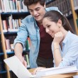 Schoolmates studying together at the library — Stock Photo #68581885