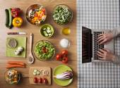 Vegetarian healthy food online recipes — Stock Photo