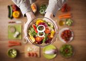 Healthy fresh homemade salad — Stock Photo