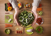 Healthy fresh homemade salad — Stock Photo