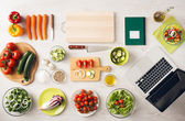 Vegetarian creative cooking at home — Stock Photo
