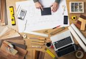 Construction engineer's desk — Stock Photo