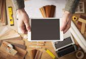 Home da renovação app na digital tablet — Fotografia Stock