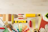 Decorator's work table with tools — Stock Photo