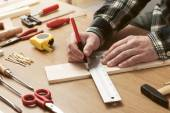 Man working on a DIY project — Stock Photo