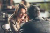 Romantic couple flirting at the bar — Stock Photo