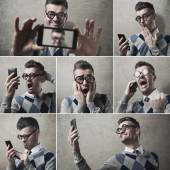 Funny clueless guy with his smartphone — Stock Photo