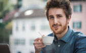 Funny guy with milk moustache — Stock Photo