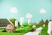 Environmental friendly toy town — Stock Photo
