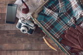 Vintage traveler packing — Stock Photo