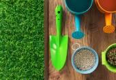 Gardener's colorful equipment — Stock Photo