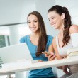Cheerful girls social networking — Stock Photo #78286484