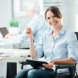 Happy office worker in wheelchair — Stock Photo #78289958