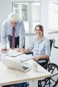 Confident businesswoman in wheelchair — Stock Photo