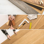 Flooring installation at home — Stock Photo