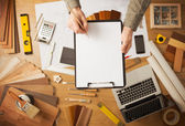 Home renovation concept with blank clipboard — Stock Photo