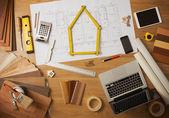 Architect and interior designer work table — Stock Photo