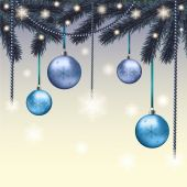 Christmas card with blue balls — Stock Vector