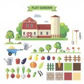 Flat  garden with farmhouse — Vettoriale Stock