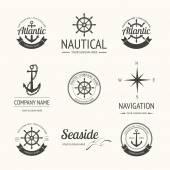 Set of retro nautical labels — Stock Vector