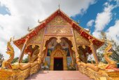 Buddhist church with Northern of Thailand Art Design. — Stock Photo