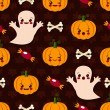 Halloween seamless pattern with cute kawaii — Stock Vector #55004383
