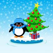 Cute penguin with gift boxes and Christmas tree — Stockvektor