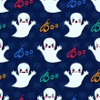 Halloween seamless pattern with cute kawaii ghosts — Stock Vector #55384427