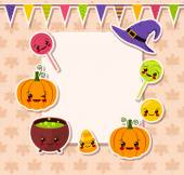 Kawaii Halloween symbols with frame — Stock Vector