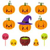 Kawaii Halloween symbols — Stock Vector