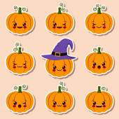 Kawaii halloween pumpkins — Stock Vector
