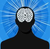 Man silhouette with brain — Stock Vector