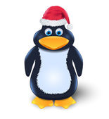 Penguin with red hat — Stock Vector