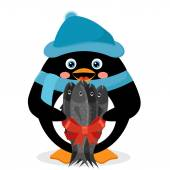 Penguin with fish — Stock Vector