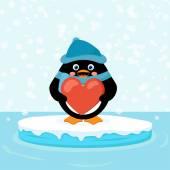 Pinguino con cuore rosso — Vettoriale Stock