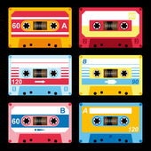 Set of audio cassettes — Stock Vector