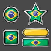Brazil flag icons — Stock Vector