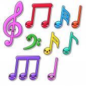 Collection of kawaii music notes — Vector de stock
