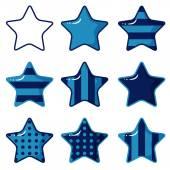 青い星のセット — ストックベクタ